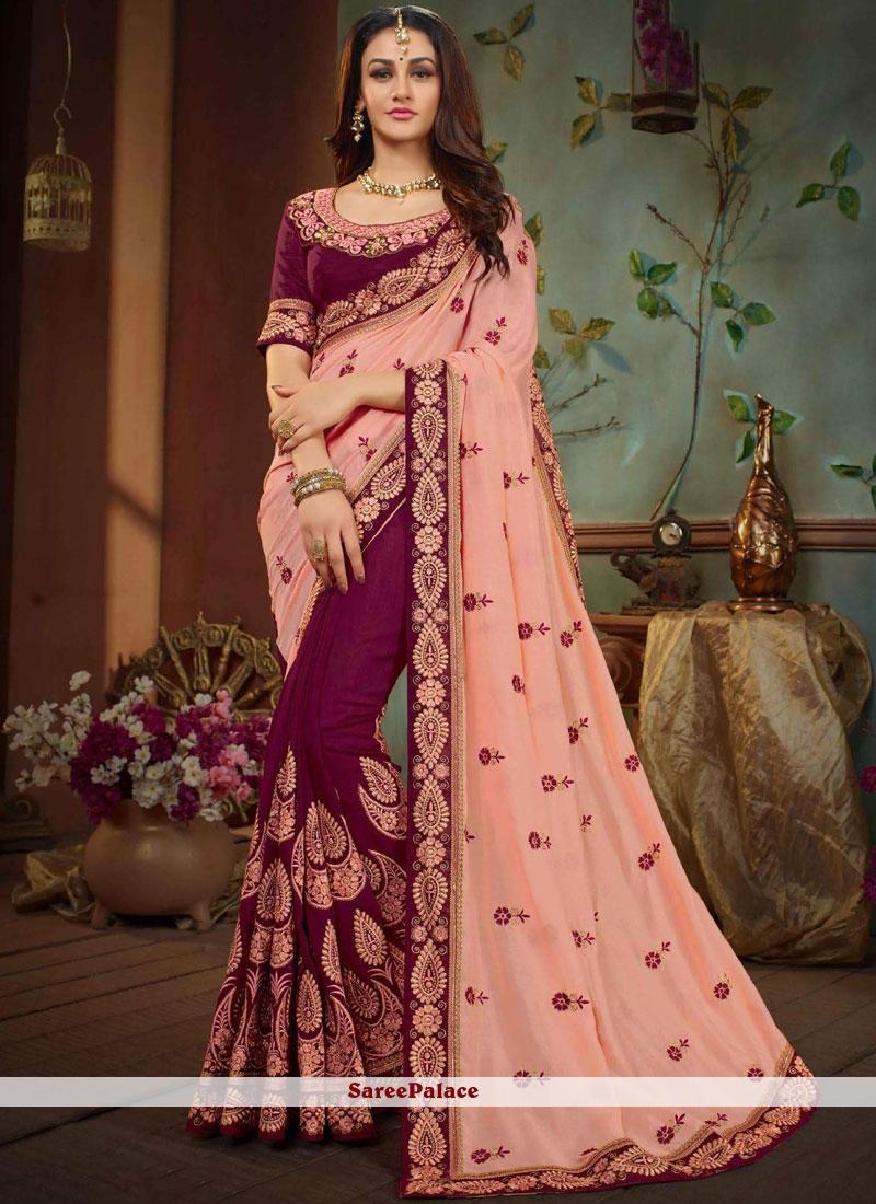 Pink and Wine Patch Border Art Silk Designer Half N Half Saree