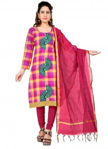 Pink and Yellow Cotton Embroidered Salwar Suit