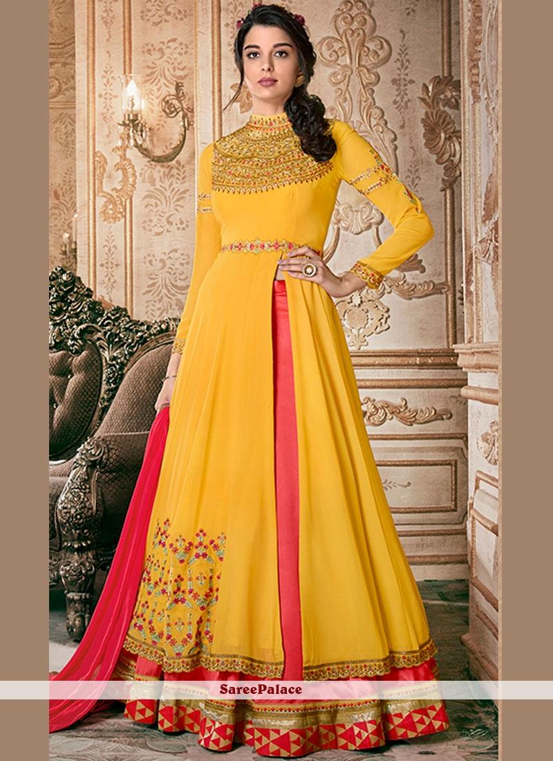 ee8d38aa02 Buy Pink and Yellow Party Floor Length Anarkali Suit Online