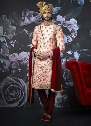 Pink Art Banarasi Silk Embroidered Indo Western