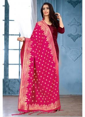 Pink Art Banarasi Silk Festival Designer Dupatta