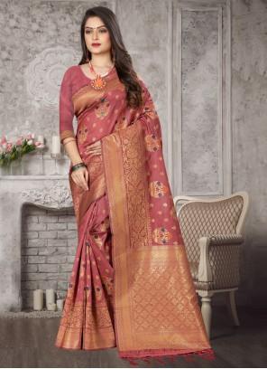 Pink Art Banarasi Silk Festival Designer Traditional Saree