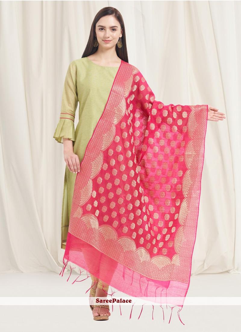 Pink Art Banarasi Silk Woven Designer Dupatta