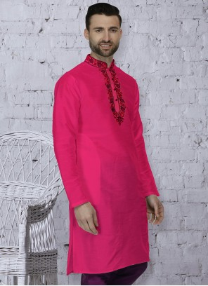 Pink Art Dupion Silk Mehndi Kurta