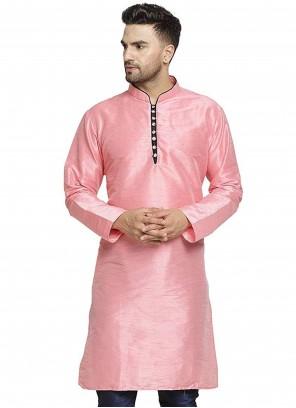 Pink Art Dupion Silk Reception Kurta