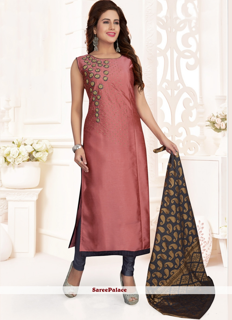 Pink Art Silk Ceremonial Churidar Salwar Kameez