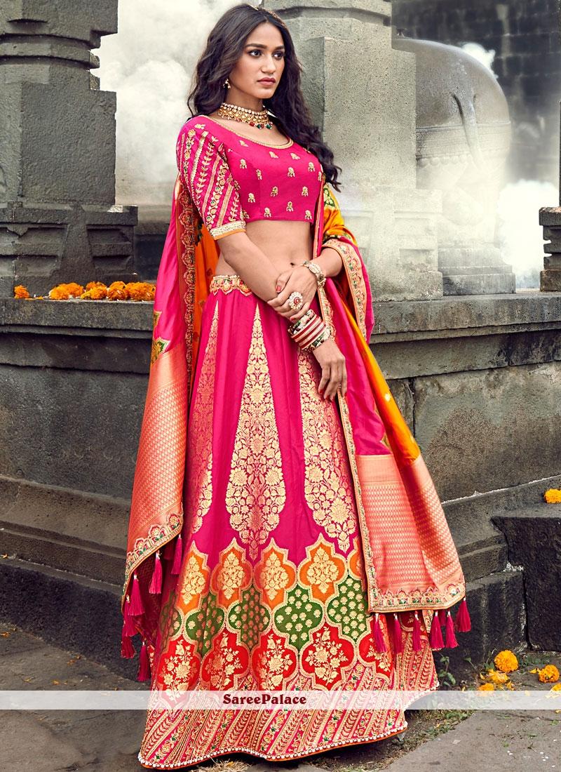 Pink Art Silk Designer Lehenga Choli