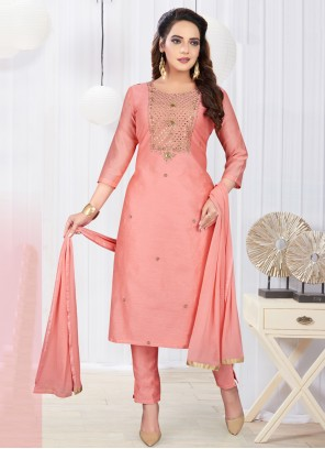 Pink Art Silk Embroidered Designer Salwar Kameez
