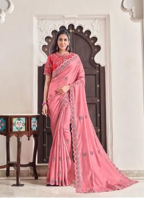 Pink Art Silk Embroidered Designer Traditional Saree