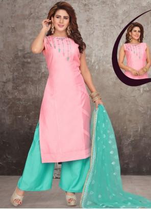Pink Art Silk Festival Readymade Suit