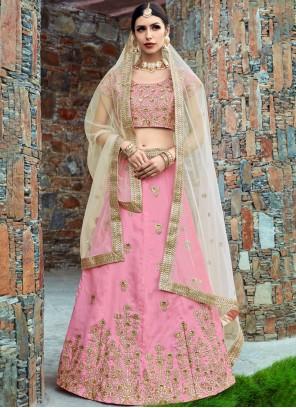 Pink Art Silk Lehenga Choli