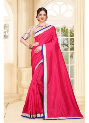 Pink Art Silk Patch Border Designer Traditional Saree