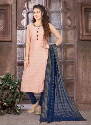 Pink Art Silk Readymade Suit