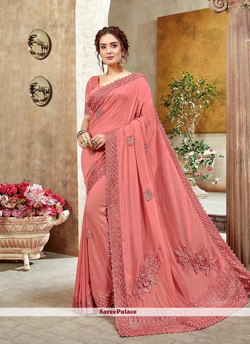 Pink Art Silk Reception Designer Saree