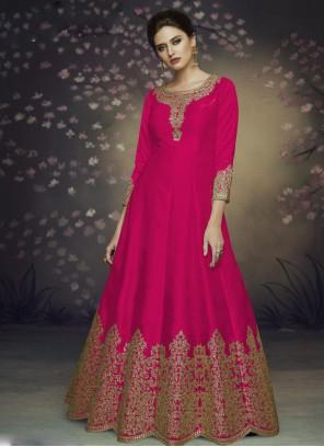 Pink Art Silk Thread Salwar Suit