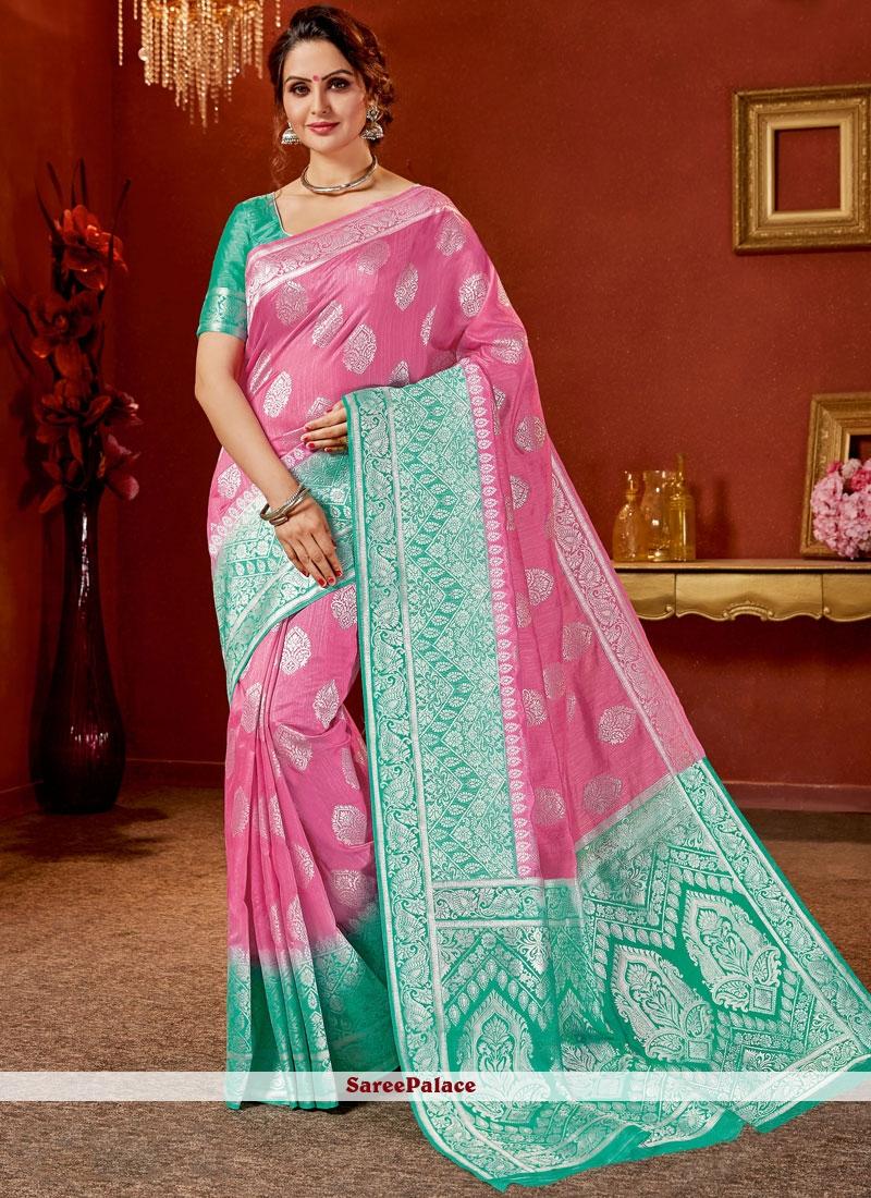 Pink Art Silk Traditional Saree