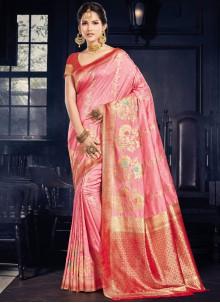 Pink Art Silk Weaving Traditional Saree