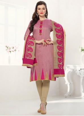 Pink Banarasi Chanderi Churidar Salwar Suit