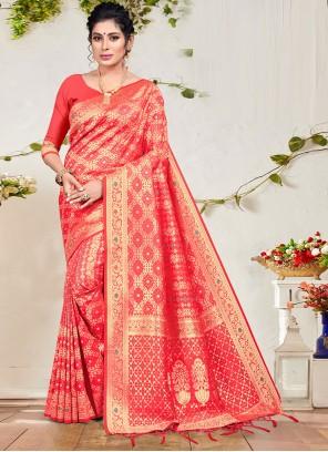 Pink Banarasi Silk Ceremonial Designer Traditional Saree