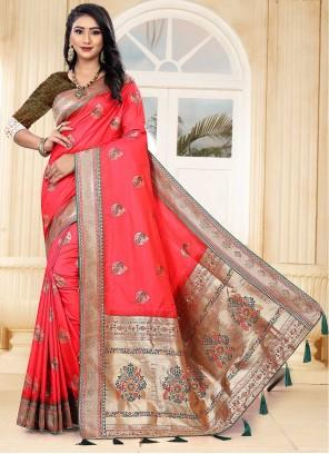 Pink Banarasi Silk Engagement Traditional Designer Saree
