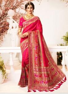 Pink Banarasi Silk Party Classic Saree