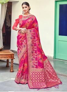 Pink Banarasi Silk Reception Traditional Saree