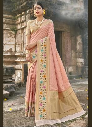Pink Banarasi Silk Sangeet Traditional Designer Saree
