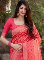 Pink Banarasi Silk Traditional Saree