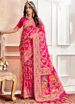 Pink Banarasi Silk Weaving Classic Saree