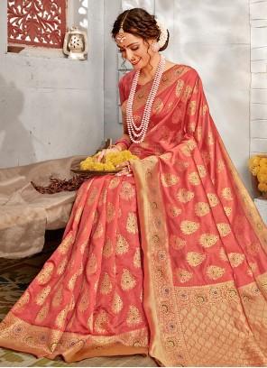 Pink Banarasi Silk Weaving Designer Traditional Saree