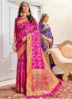 Pink Banarasi Silk Weaving Traditional Designer Saree