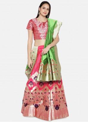 Pink Banarasi Silk Woven Lehenga Choli