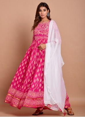 Pink Block Print Readymade Designer Gown