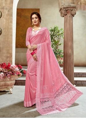 Pink Border Art Silk Designer Saree