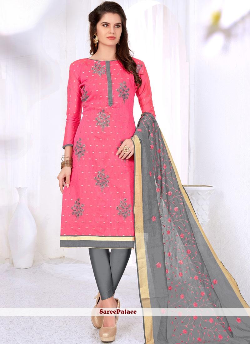 Pink Casual Churidar Suit