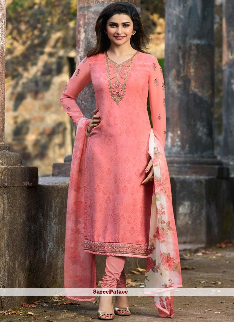 Pink Casual Faux Crepe Churidar Salwar Kameez
