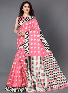 Pink Casual Printed Saree