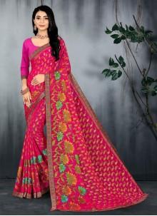 Pink Abstract Print Casual Saree