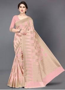Pink Casual Silk Saree