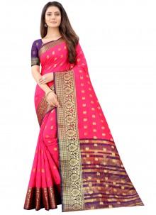 Pink Ceremonial Art Silk Traditional Saree