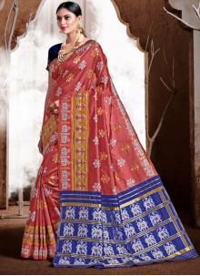 Pink Ceremonial Banarasi Silk Classic Designer Saree