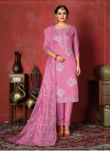 Pink Ceremonial Fancy Fabric Churidar Designer Suit