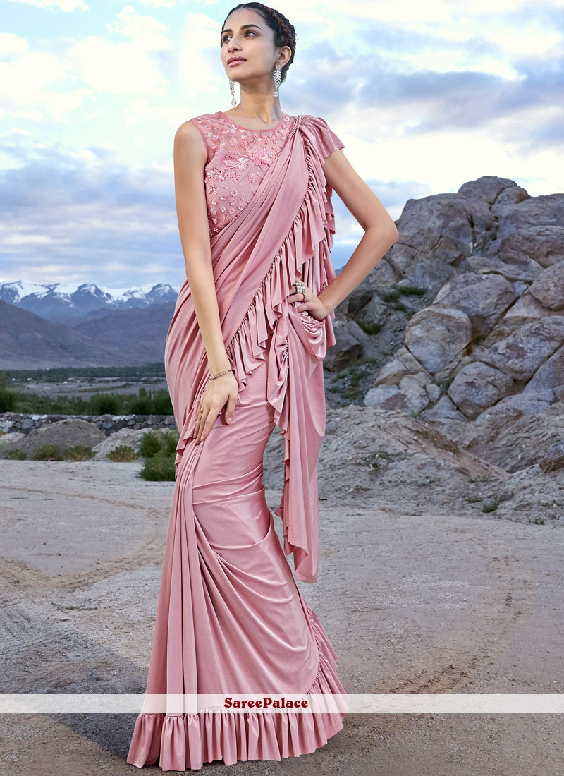 Pink Ceremonial Fancy Fabric Designer Traditional Saree