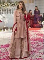 Pink Ceremonial Faux Georgette Designer Pakistani Salwar Suit