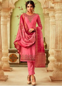 Pink Ceremonial Georgette Pant Style Suit
