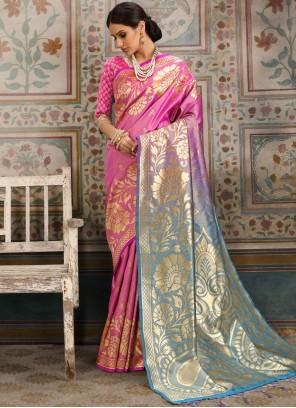 Pink Ceremonial Kanchipuram Silk Classic Saree