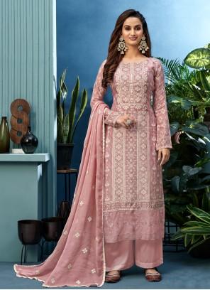 Pink Ceremonial Muslin Designer Palazzo Suit