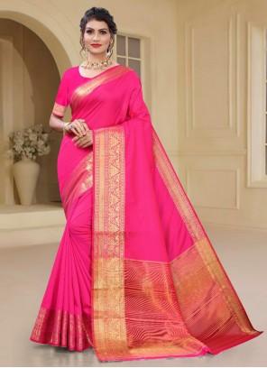 Pink Ceremonial Silk Casual Saree