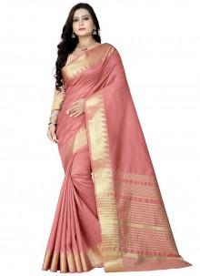 Pink Weaving Zari Work Silk Designer Saree