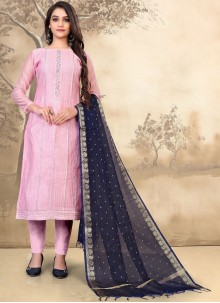 Pink Chanderi Embroidered Pant Style Suit